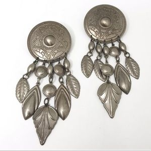 Vintage Silver Boho Statement Earrings